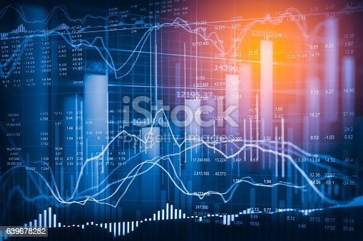 istock Stock market indicator and financial data view from LED. Double 639678282
