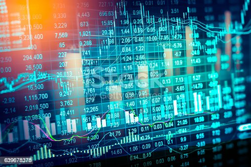istock Stock market indicator and financial data view from LED. Double 639678378