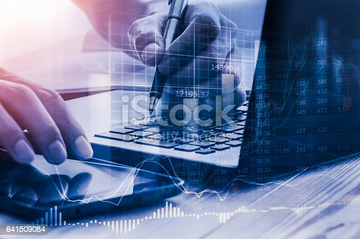 istock Stock market indicator and financial data view from LED. Double 641509084
