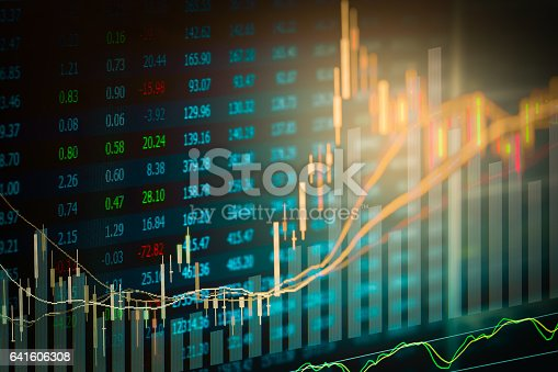 istock Stock market indicator and financial data view from LED. Double 641606308