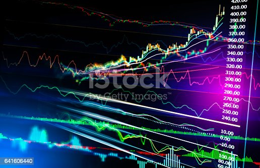istock Stock market indicator and financial data view from LED. Double 641606440