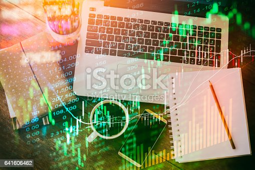 istock Stock market indicator and financial data view from LED. Double 641606462
