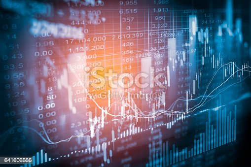 istock Stock market indicator and financial data view from LED. Double 641606666