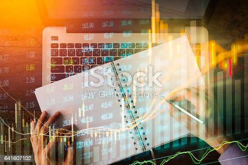 641610568 istock photo Stock market indicator and financial data view from LED. Double 641607102