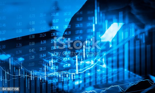 istock Stock market indicator and financial data view from LED. Double 641607158