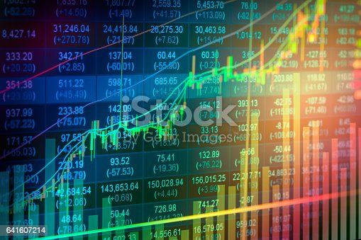 istock Stock market indicator and financial data view from LED. Double 641607214