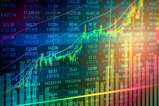 börse-indikator und finanzdaten aus led anzeigen doppel - kurstafel stock-fotos und bilder