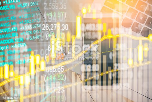 istock Stock market indicator and financial data view from LED. Double 641607502