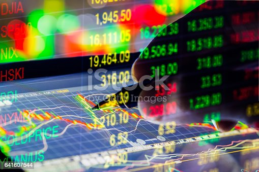 istock Stock market indicator and financial data view from LED. Double 641607544