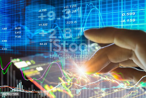 istock Stock market indicator and financial data view from LED. Double 641607584