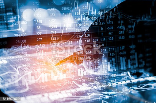 istock Stock market indicator and financial data view from LED. Double 641607672