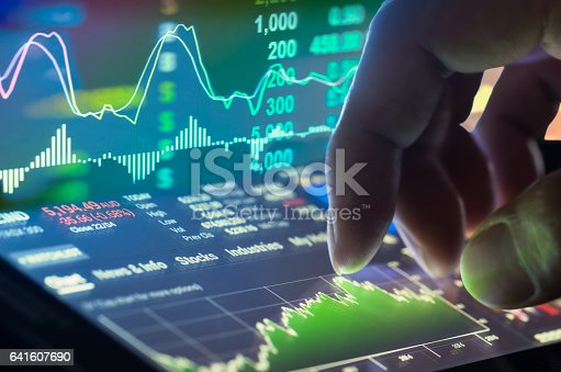 istock Stock market indicator and financial data view from LED. Double 641607690