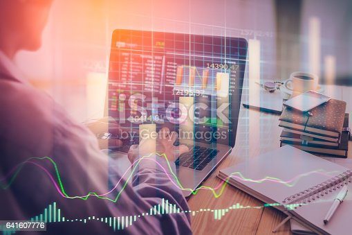 istock Stock market indicator and financial data view from LED. Double 641607776