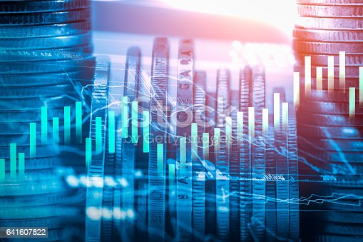 641610568 istock photo Stock market indicator and financial data view from LED. Double 641607822