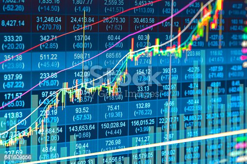 istock Stock market indicator and financial data view from LED. Double 641609556