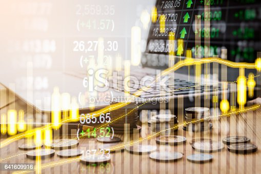 641610568 istock photo Stock market indicator and financial data view from LED. Double 641609916