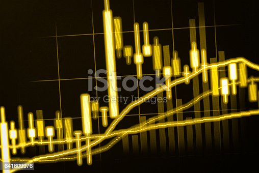 istock Stock market indicator and financial data view from LED. Double 641609976