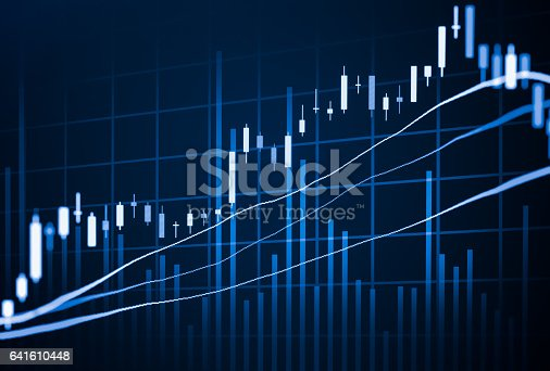 istock Stock market indicator and financial data view from LED. Double 641610448