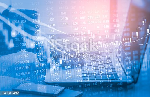 istock Stock market indicator and financial data view from LED. Double 641610482