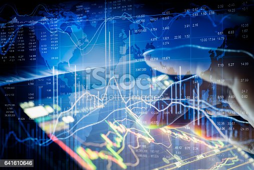 istock Stock market indicator and financial data view from LED. Double 641610646