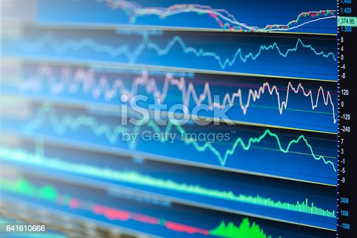 istock Stock market indicator and financial data view from LED. Double 641610666