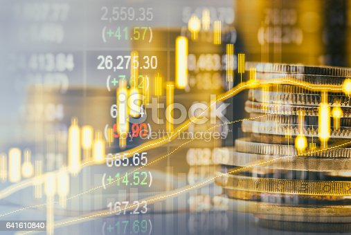 istock Stock market indicator and financial data view from LED. Double 641610840