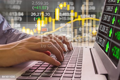 istock Stock market indicator and financial data view from LED. Double 641611030
