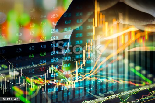 istock Stock market indicator and financial data view from LED. Double 641611092