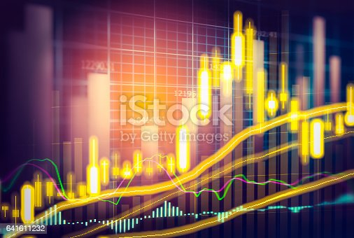 istock Stock market indicator and financial data view from LED. Double 641611232
