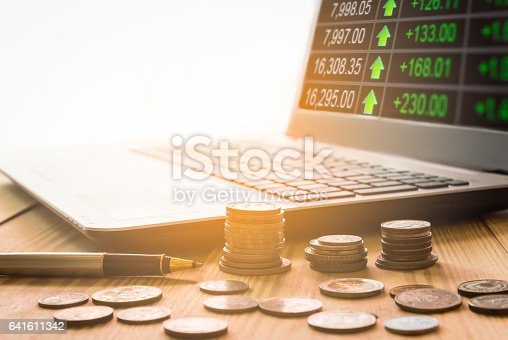 641610568 istock photo Stock market indicator and financial data view from LED. Double 641611342
