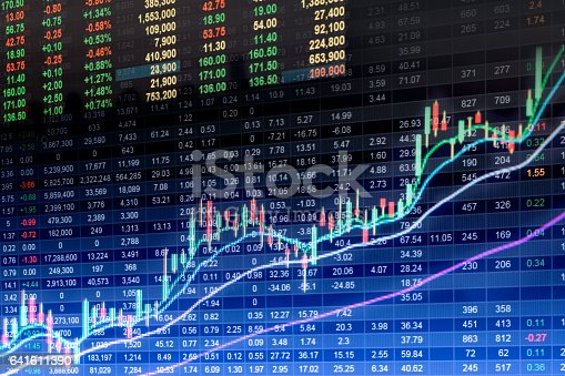 641610568 istock photo Stock market indicator and financial data view from LED. Double 641611390