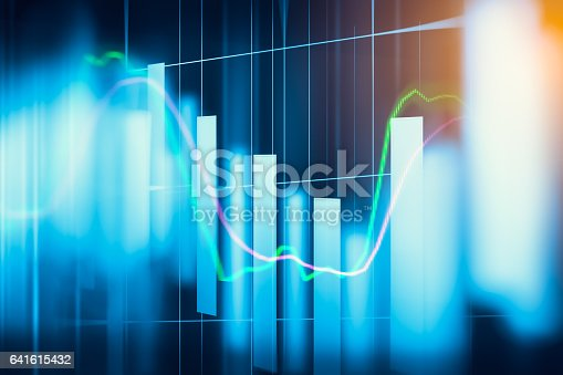 istock Stock market indicator and financial data view from LED. Double 641615432