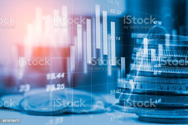 Stock Market Indicator And Financial Data View From Led Double Stock Photo - Download Image Now