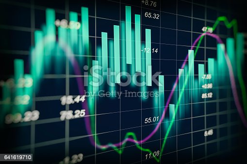 istock Stock market indicator and financial data view from LED. Double 641619710