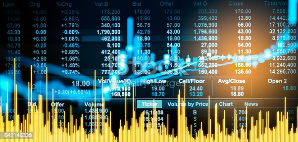 istock Stock market indicator and financial data view from LED. 642146308