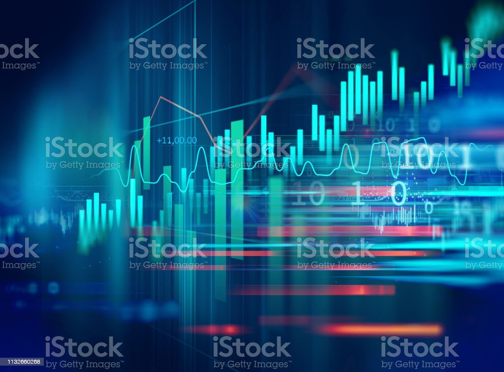 stock market investment graph with indicator and volume data. - Foto stock royalty-free di Affari