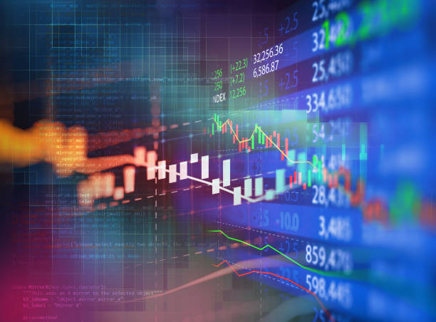 stock market investment graph with indicator and volume data. stock photo