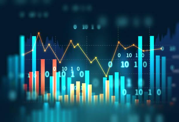 graphique d'investissement boursier avec des données sur les indicateurs et les volumes. - graph photos et images de collection