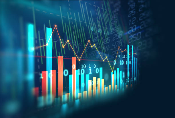 stock market investment graph with indicator and volume data. financial stock market graph illustration ,concept of business investment and stock future  trading. data stock pictures, royalty-free photos & images