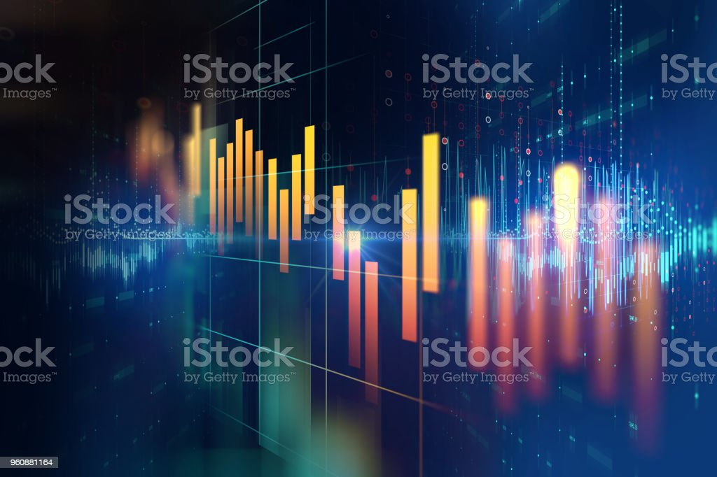 stock market investment graph with indicator and volume data. royalty-free stock photo