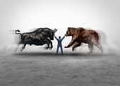 Stock market management and financial economic advisor expert managing bear and bull markets as a finance and trading equities metaphor as a skilled money managing consultant in a 3D illustration style.