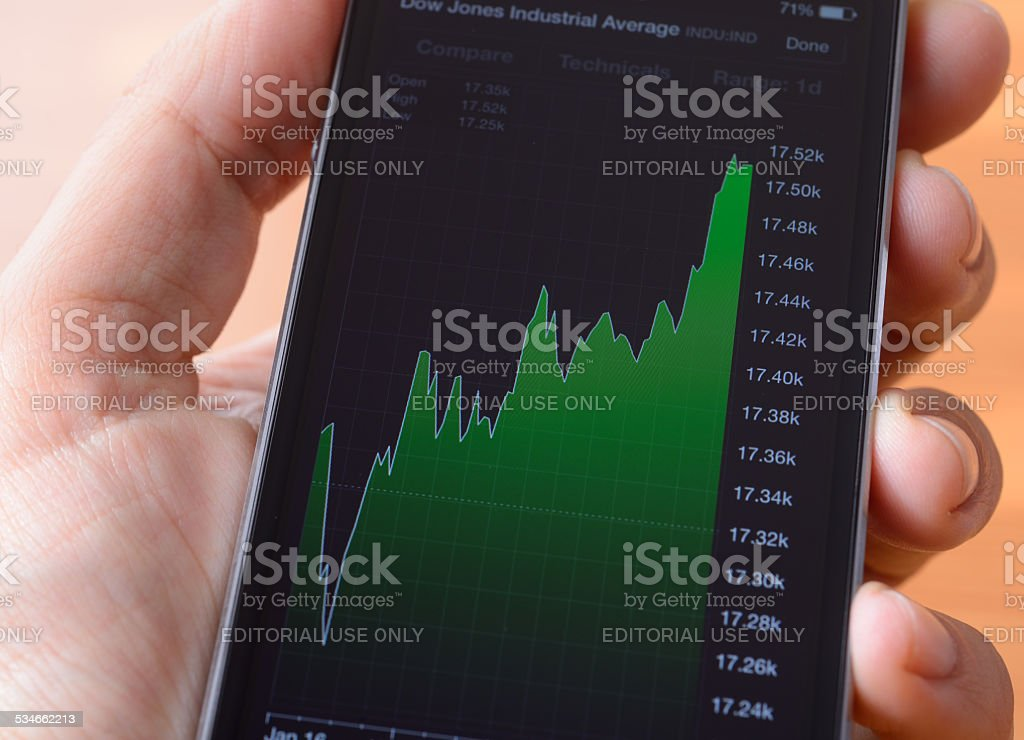Stock market on iPhone stock photo