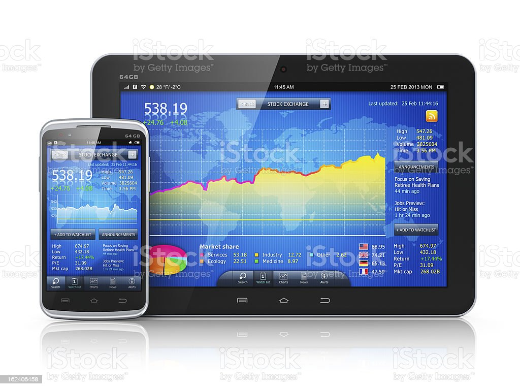 Stock market on mobile devices royalty-free stock photo