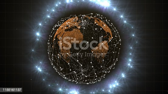 Candlestick hologram of money flow around the planet.