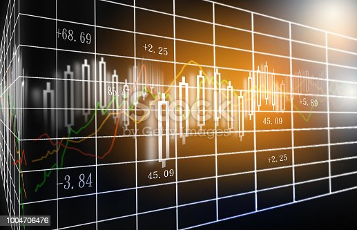 istock Stock market or forex trading graph and candlestick chart suitable for financial investment concept. 1004706476