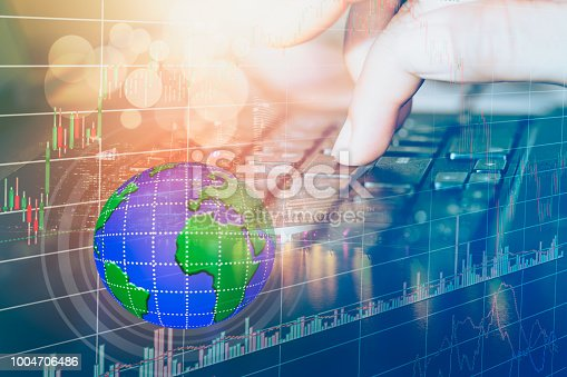istock Stock market or forex trading graph and candlestick chart suitable for financial investment concept. 1004706486