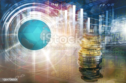 istock Stock market or forex trading graph and candlestick chart suitable for financial investment concept. 1004706504