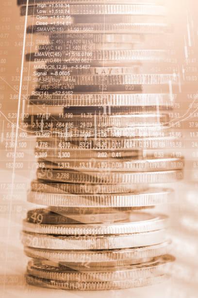 mercado de valores o forex comercio gráfico candelabro tabla y conveniente para el concepto de inversión financiera. fondo de tendencias de economía para la idea de negocio y todo el arte diseño del trabajo. resumen finanzas fondo. - accesorio financiero fotografías e imágenes de stock