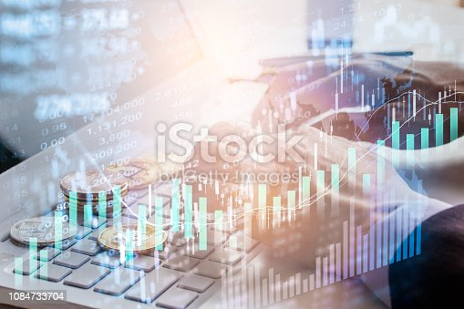 1140473216istockphoto Stock market or forex trading graph and candlestick chart suitable for financial investment concept. Economy trends background for business idea and all art work design. Abstract finance background. 1084733704