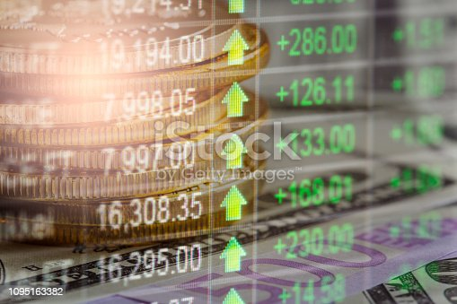 1140473216istockphoto Stock market or forex trading graph and candlestick chart suitable for financial investment concept. Economy trends background for business idea and all art work design. Abstract finance background. 1095163382